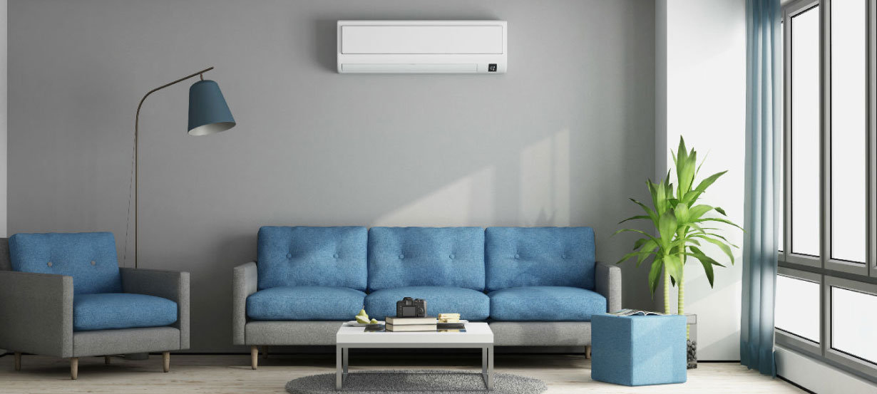 Living Room with AC on the wall
